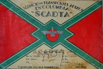 """Tiquete de Scadta en 1.937, para la ruta Bogotá - Medellín. Tomada de """"Historia de la aviación en Colombia, 1.911 - 1.950"""""""