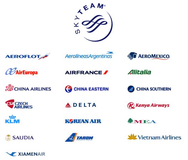 Aerolíneas miembro de Skyteam a Marzo de 2013. Tomado de post de Fenix_2007 en Skyscrapercity