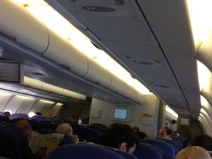 Interior del avión en vuelo