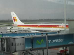 Se ve el A340-600 de Iberia preparándose para su viaje de 10 horas a Madrid