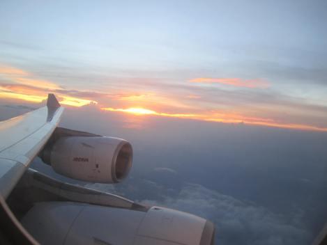 Atardecer sobre Colombia a bordo de un A340-600 de Iberia