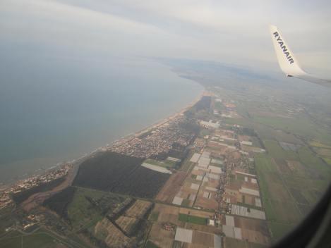 La costa italiana desde el B737-800 de Ryanair