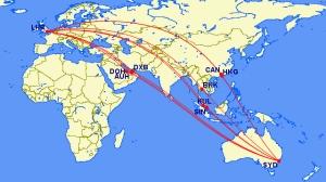 Algunas de las opciones actuales de volar entre Sydney y Londres. De Australian Business Traveller