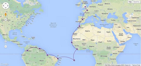 Mapa del vuelo de exploración de Avianca a Europa. Magnífico aporte de @ishosholoza, del Blog de banderas