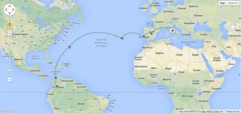 La ruta del primer vuelo regular de Avianca a Europa, operado con aviones DC-4 inicialmente. También aporte de @ishosholoza del Blog de banderas