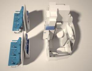 Modificación 'SpaceFlex' para los A320. Galley y baños en el mismo lugar, reduciendo el espacio necesario para ello y brindando más espacio disponible para sillas. De Airbus vía envivodesdescl.blogspot.com