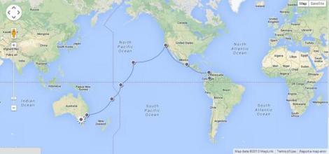 La ruta que siguió el HK-136 para llevar a los deportistas colombianos a Melbourne 1956. Por @ishosholoza del Blog de banderas