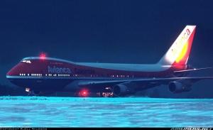 Foto del B747 de Avianca, HK-2300, en Estocolmo el 14 e Diciembre de 1982, ya volviendo a Colombia. Foto de Kjell Nisson, en Airliners