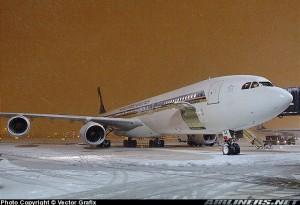 A340-500 de Singapore en Newark, antes de volver a Singapur en el vuelo más largo del mundo hasta su cancelación