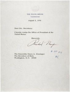 Carta de renuncia de Richard Nixon. En Wikipedia