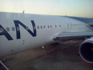 La parte central del avión en destino