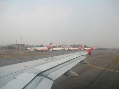 Impresionante cantidad de aviones de American en Sao Paulo